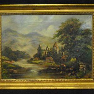 """Original Antique Oil Painting European River Estate, Castle, Cow, 18.75""""W x 13.5""""H, Ca 1890"""