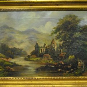 "Original Antique Oil Painting European River Estate, Castle, Cow, 18.75""W x 13.5""H, Ca 1890"