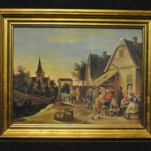 "Original European Antique Oil Painting of Lively Town Gathering, 15"" x 11.5"", Ca 1900"
