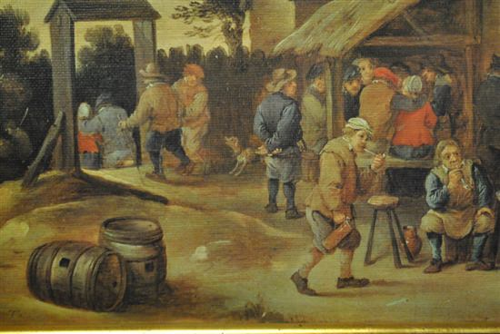 """Original European Antique Oil Painting of Lively Town Gathering, 15"""" x 11.5"""", Ca 1900"""