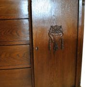 Antique Solid English Oak Wood French Bow Front Side Board, 61″W x 53″H,  Circa 1920