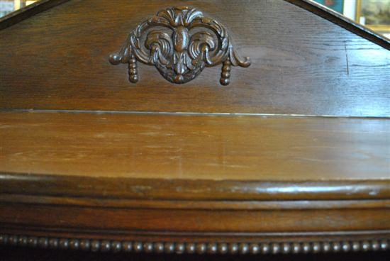 """Antique Solid English Oak Wood French Bow Front Side Board, 61""""W x 53""""H, Circa 1920"""