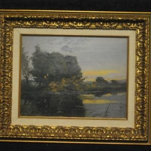 "Antique Oil On Board, Framed, Landscape, Sunrise, Marsh, 13.5 "" x 10.5"""