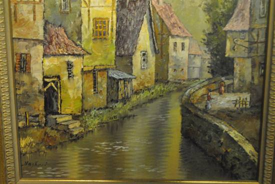 "Original Oil On Canvas, Framed, Small Village, River, 9.5"" x 12"" Signed Bagheri"
