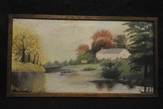Antique Oil On Canvas Landscape, House Beside a River, 24 x 12