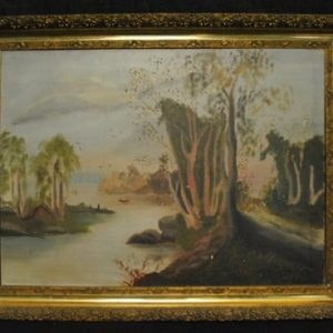 Antique Oil On Canvas Landscape Serene River Scene With Canoe, 27 x 20