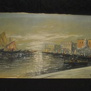 Oil On Canvas  Seascape,City Water Scene Cargo Ships,Ladies, Signed, 24 x 48