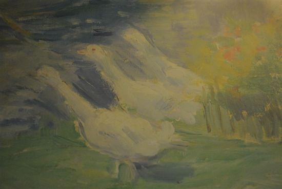 """Lovely Framed Print Signed,  Swans, Lake, Canoe, 9"""" x 11"""""""