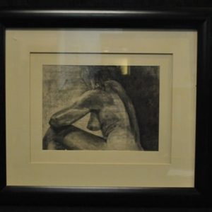 "Original Profile of a Nude Woman Charcoal, Signed Samuel C Lowe '88 17"" x 22"""