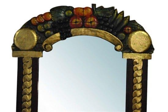 "Vintage Hand Carved Wood Mirror, Folk Art, Fruit, Painted, Black, 28"" x 36"""