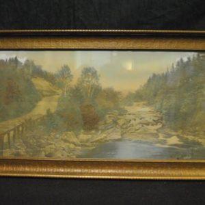 """Antique Wallace Nutting Print, """"A Little River"""", Landscape Scene, 39"""" x 19"""""""