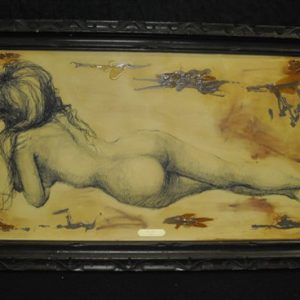 """Original Charcoal and Ink Drawing """"Spice"""" by Darenthia Grayson, 48"""" x 28"""""""
