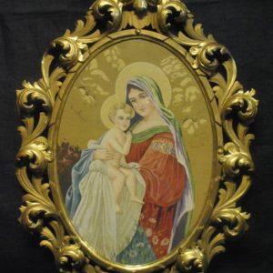 "Madonna & Child, Needlepoint Tapestry Carved Frame, 26.5"" x 18"", Circa 1810"
