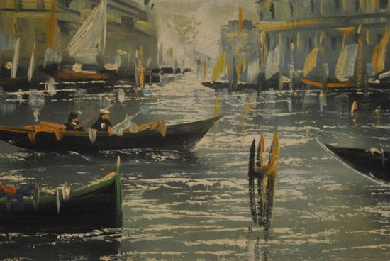 "Oil On Canvas Landscape, Big City Harbor With Boats, Signed,  48""W x 29""H"