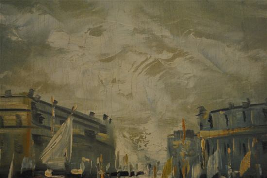 """Oil On Canvas Landscape, Big City Harbor With Boats, Signed, 48""""W x 29""""H"""