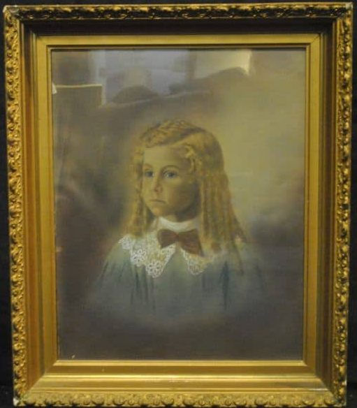 "Antique Portrait Print Of Young Victorian Girl With Ringlets,  16"" x 20"""