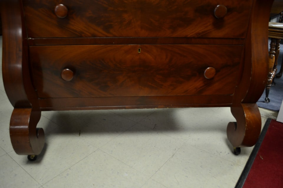 Antique American Empire Flaming Mahogany Chest Dresser