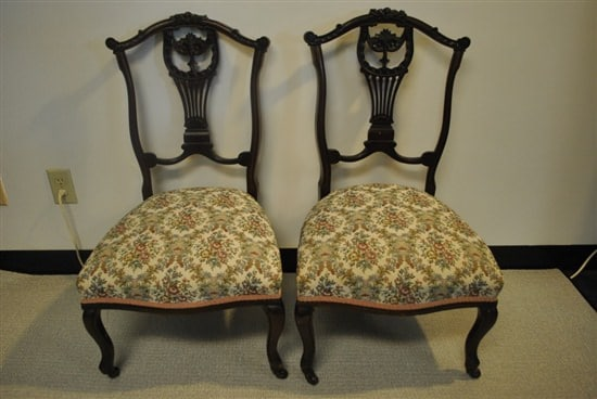 "Pair of Antique Ladies Mahogany Lyre Back Slipper Chairs, 33.5""H Ca 1890"