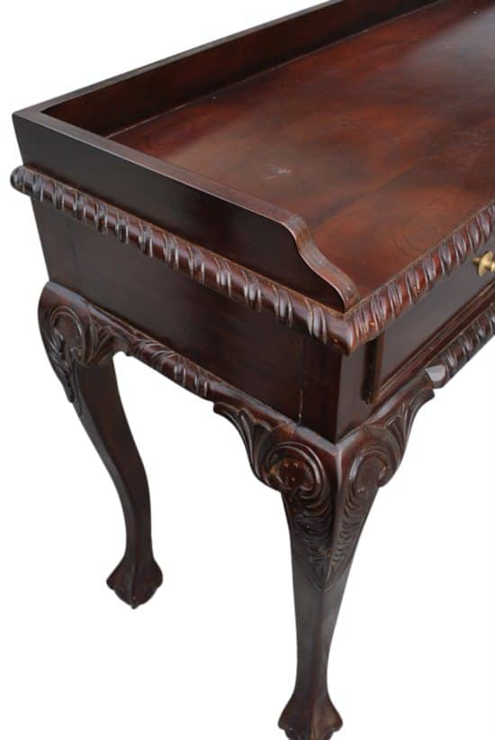 "Hand Carved Mahogany Chippendale Style Writing Desk, Console Table, 17""D x 41""W x 31""H"