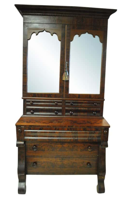 Gorgeous Antique American Empire Bookcase Secretary, Flaming Mahogany 7ft, Circa 1830