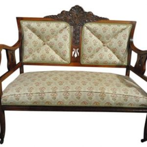 """Super NIce Antique Carved Mahogany Settee, Upholstered 45.5""""W x 38.25""""H"""
