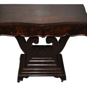 "Antique Flaming Mahogany Empire Flip Top Game, Card Table, Circa 1840 36""W"