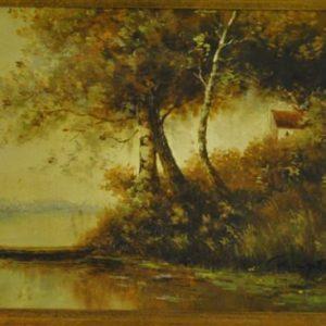 Fine Original Oil Painting, Lake, Landscape Boat Scene, Gold Gilt Frame