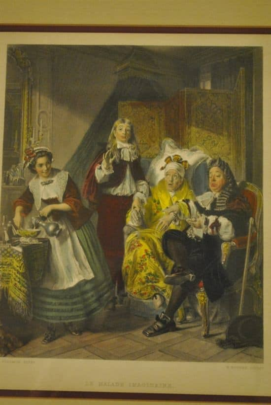 """Antique Copper Etching """"Le Malade Imaginaire"""" A. Solomon, Pinx H. Bourne, 1860"""