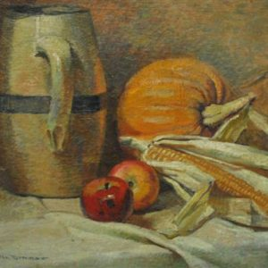 "Signed H. Boylston Dummer, Country Kitchen, Antique Oil on Canvas  24"" x 18"""
