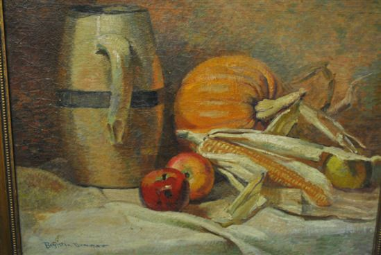 """Signed H. Boylston Dummer, Country Kitchen, Antique Oil on Canvas  24"""" x 18"""""""