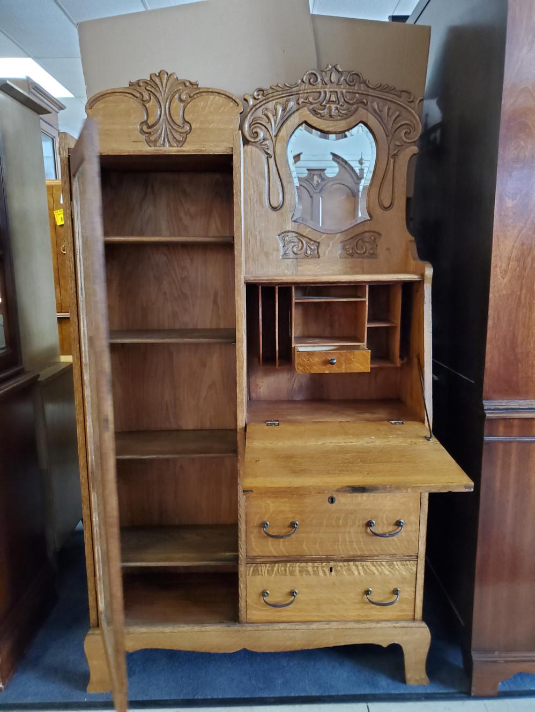 Antique Side By Side Curio Secretary Tiger Oak 66 Quot H