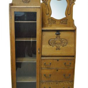 "Antique Side By Side, Curio, Secretary, Tiger Oak, 66""H, Circa 1890"