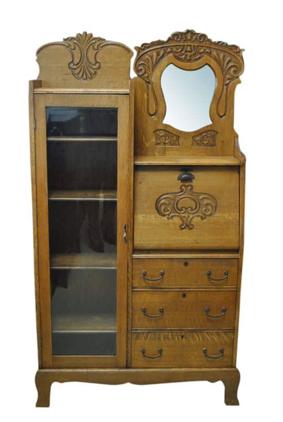 "Antique Side By Side, Curio, Secretary, Tiger Oak, 66""H, Circa 1890"