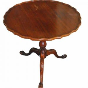 Antique Chippendale Style Mahogany Pie Crust Tilt Top Table, Ball & Claw Feet
