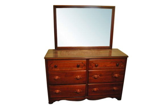 Super Nice 6 Drawer Solid Cherry Wood Dresser Chest With Mirror 55 Wide Pa4381
