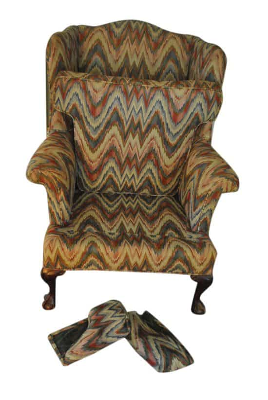Chippendale Style Upholstered Wingback Chair Flame Stitch Design