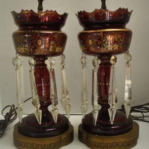 "2 Antique Cranberry Glass Mantle Lusters Lamps, Hand Painted Floral, Big Crystals, 30""H"