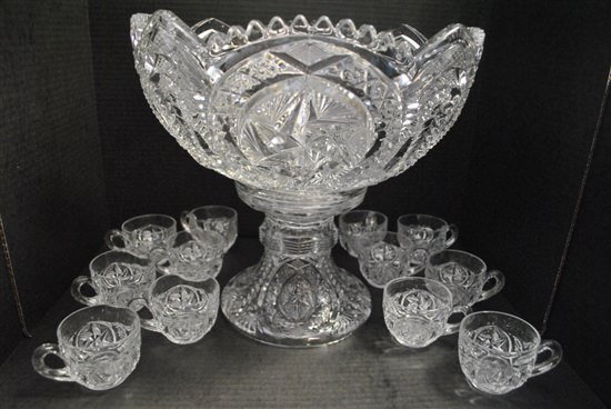 Stunning Antique Victorian Pressed Glass Punch Bowl Set with 12 Cups