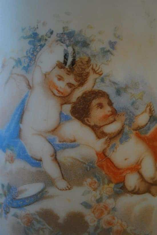 "Set of Antique 2 Bristol Glass Vases, Hand Painted Cherub Design 11""H"