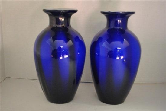 "Antique Hand Blown Cased Glass Vase, Cobalt Blue, 10""H 2 Available"