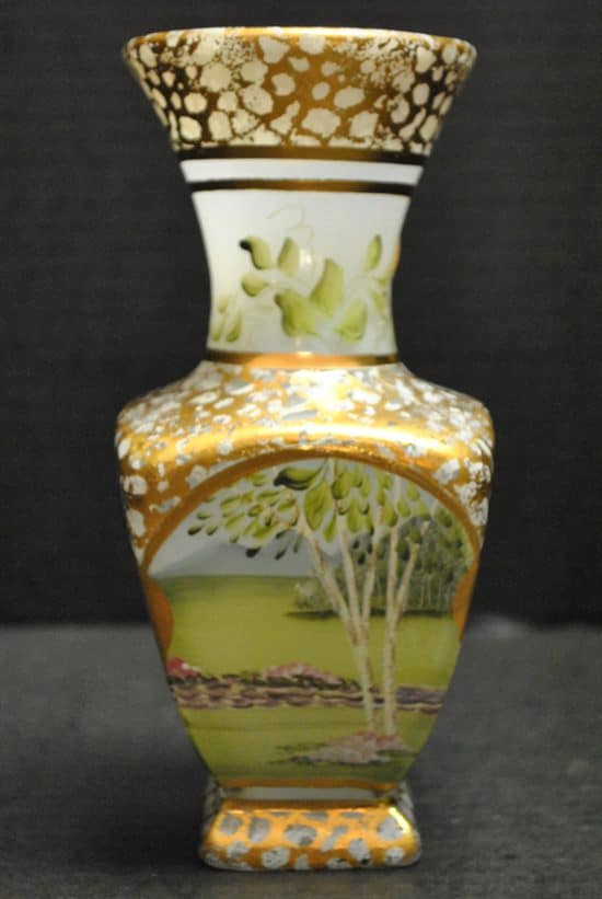"NIB Vintage Fenton Vase, Hand Painted, Gold Gilt, by C. Griffiths, 7.75""H"