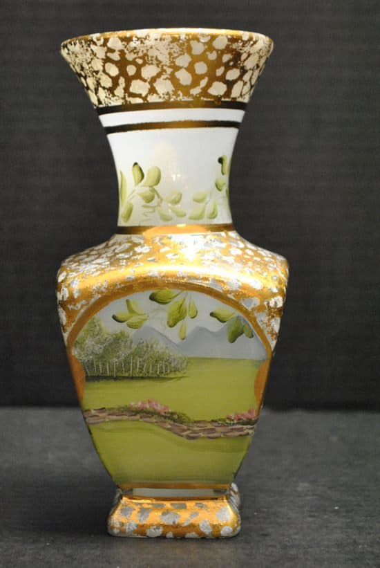 "NIB Vintage Fenton Vase, Hand Painted, Gold Gilt, by C. Griffiths, 7.75""H"
