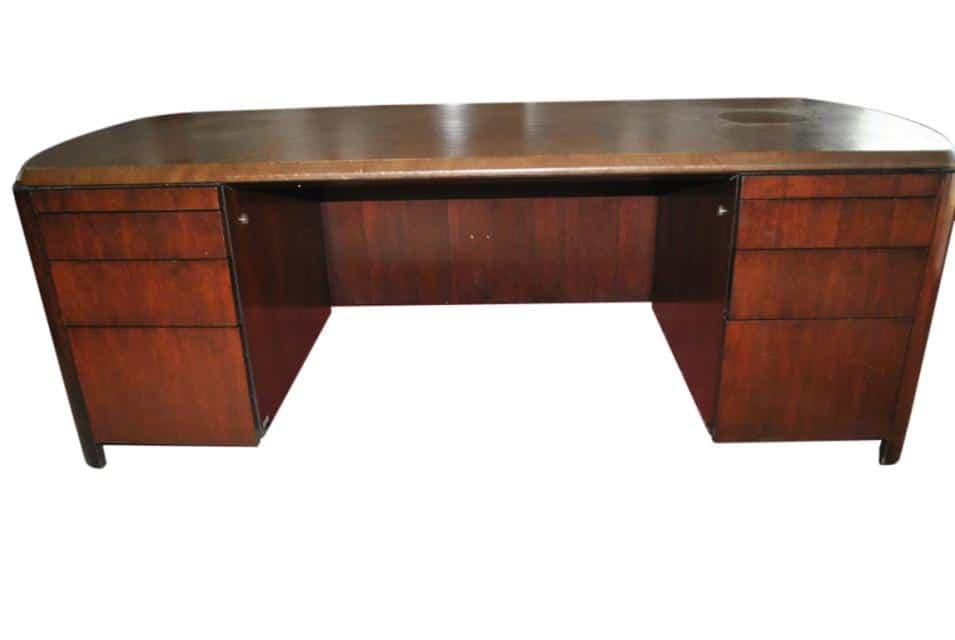 Vintage Dunbar Mid Century Modern Executive Desk 84 W
