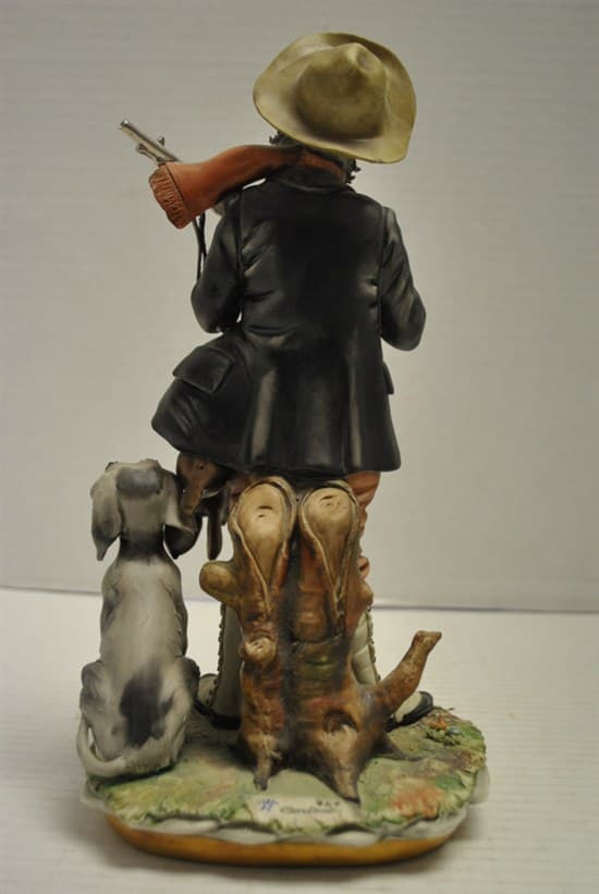 "Cortese Capodimonte Porcelain Figurine Hunter & Dog 12""H Crowned N"