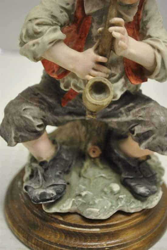 "Cortese Capodimonte Porcelain Figurine Boy & Horn 8""H Crowned N"