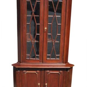 "Hand Carved Solid Mahogany Georgian Style Corner Cabinet 76""H"