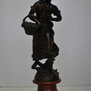 "Antique Bronze Statue with Wooden Base ""La Museque"" 18.25""H"