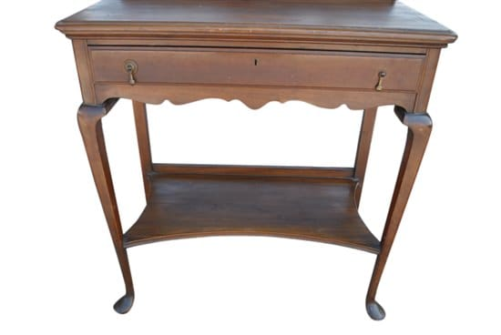 Antique Queen Anne Style Walnut Console Butlers Table, Writing Desk Ca 1900 - Antique English Walnut Butlers Table Console