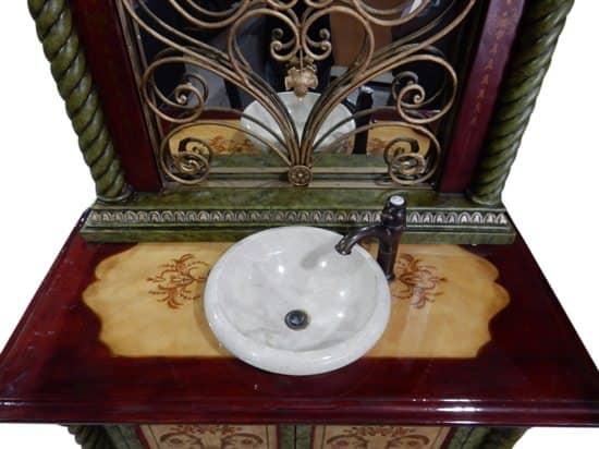 "Very Ornamental Sink Mirror & Cabinet Floral Design Rod Iron Scroll 86""H"