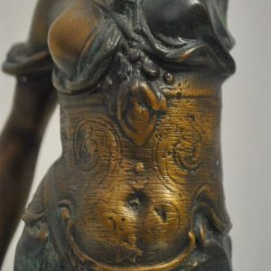 """Vintage Bronze Blind Justice By Mayer, Partly Nude  Lady Scales of Justice Statue 18"""" H"""
